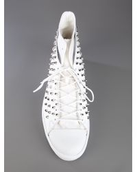 Forfex White Studded Hi Top Sneakers for men