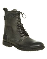 Hudson Jeans Westland Hi Lace Boot Black Leather for men