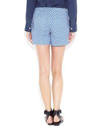J.Crew - Blue Printed Cotton Twill Shorts - Lyst