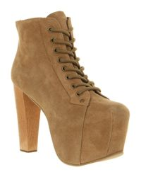 Jeffrey Campbell Brown Lita Platform Ankle Boot Taupe Suede
