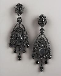 Jose & Maria Barrera Metallic Crystal Chandelier Earrings