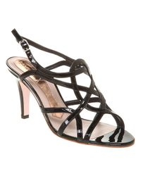 Magrit High Strappy Sandal Black Patent