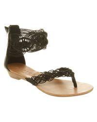 Office Black Stitch Macrame Sandals