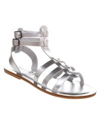 Office Metallic Helena Gladiator Silver Leather