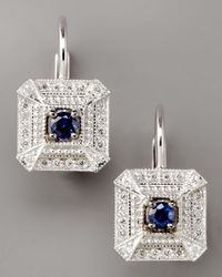 Penny Preville | Metallic Diamond & Sapphire Square Drop Earrings | Lyst