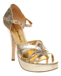 Terry De Havilland Metallic Annie Platform Sandal Gold Leather