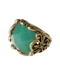 Lucky Brand | Metallic Gold Tone Green Ring | Lyst