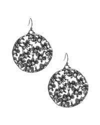 Lucky Brand - Metallic Silver Tone Floral Open Work Disc Earrings - Lyst