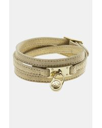 MICHAEL Michael Kors | Metallic Michael Kors Leather Wrap Lock Bracelet | Lyst