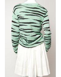 Proenza Schouler Green Vneck Tiger Cardigan