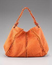 Bottega Veneta | Orange Fringe-detailed Woven Hobo, Fire Opal | Lyst
