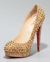 Christian Louboutin | Metallic Altipump Spike Cork Pumps | Lyst