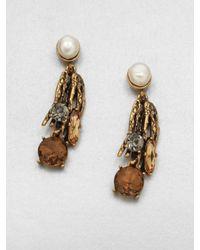 Oscar de la Renta | Metallic Stone Embellished Drop Earrings | Lyst