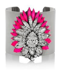 Shourouk | Metallic Crystal Flower Cuff | Lyst