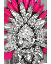 Shourouk - Metallic Crystal Flower Cuff - Lyst