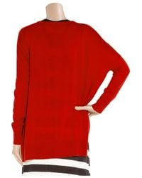 DKNY Red Knitted Silk and Cashmere-blend Sweater