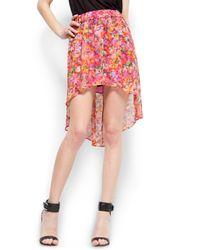 Mango | Multicolor Floral Print Tail Hem Skirt | Lyst