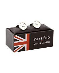 Simon Carter Metallic West End Button Cufflinks for men