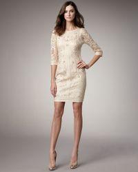 Sue Wong | Natural Lace Floral-Applique Dress | Lyst