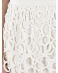 Lela Rose White Lace Peplum Dress