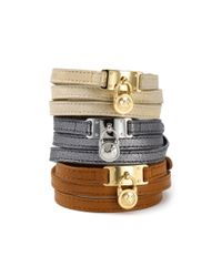 Michael Kors - Metallic Michael Mk Leather Wrap Bracelet - Lyst