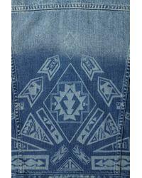 Topshop   Blue Moto Aztec Burnout Denim Jacket   Lyst