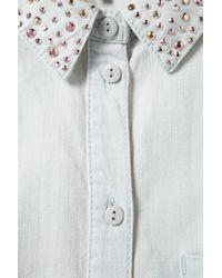 TOPSHOP Blue Sparkle Collar Denim Crop Shirt
