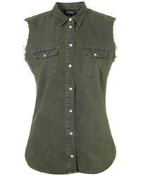 TOPSHOP Green Khaki Sleevless Denim Shirt