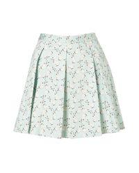 TOPSHOP Blue Bunny Print Invert Pleat Skirt