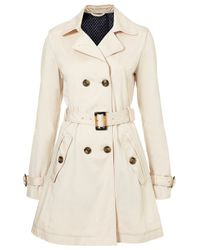 TOPSHOP Natural Aline Piped Trench Coat