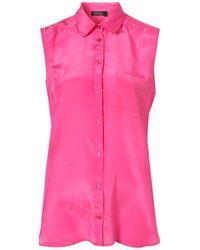 TOPSHOP Pink Sleeveless Silk Shirt