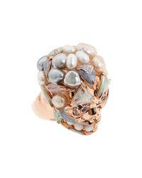 Alexander McQueen | Metallic Pearl Skull Ring | Lyst