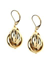 Anne Klein | Metallic Gold Tone Leverback Drop Earrings | Lyst