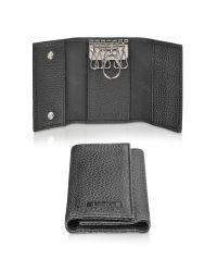 A.Testoni Black Calf Leather Key Holder