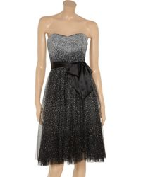 BCBGMAXAZRIA Black Juliane Faux Leather-top Draped Chiffon Dress