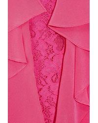 BCBGMAXAZRIA Purple Lilliana Ruffled Lace and Silk Blouse