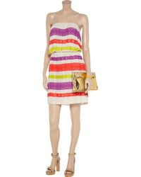 BCBGMAXAZRIA Multicolor Mateo Laceappliquéd Crepe Dress