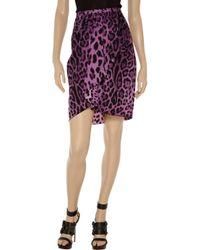 Dolce & Gabbana Purple Printed Stretchsilk Wrapeffect Skirt
