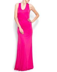 Mango Pink Scoop Back Long Dress