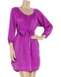 Rebecca Taylor Purple Snake-effect Silk-jacquard Dress