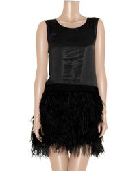 Theory | Black Caliay Polymembrane Brushed-satin and Feather Dress | Lyst