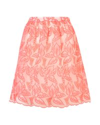 TOPSHOP Pink Fluro Embroidered Skirt