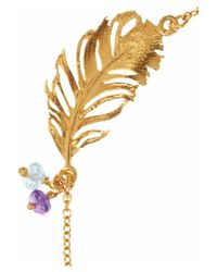 Alex Monroe Metallic 22 Karat Gold Plated Multistone Feather Bracelet