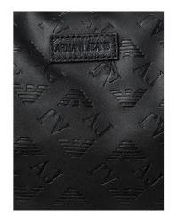Armani Jeans Black Embossed Logo Weekend Bag for men