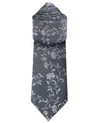 Ben Sherman Gray Silver Floral Tie for men