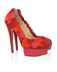 Charlotte Olympia Red Love Me Heart-Appliquéd Suede Pumps