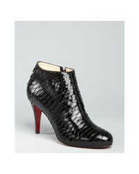 Christian Louboutin - Black Glossy Python Belle Zip Ankle Boots - Lyst