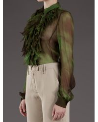 Plein Sud Green Ruffle Blouse