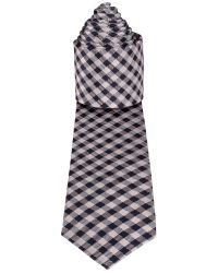 Racing Green Blue Navy and White Gingham Tie for men