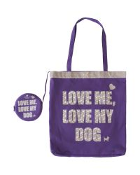 Radley Purple Love Me Love My Dog Nylon Foldaway Tote Bag